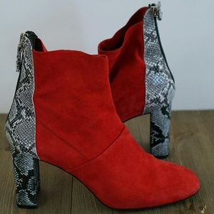 Red suede and snake skin Topshop books sz 8
